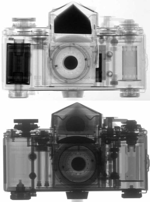 A comparison between an X-ray and neutron image of a camera, taken by the Paul Scherrer Institute
