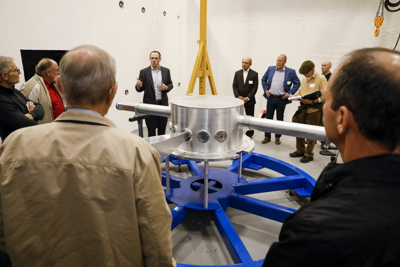 Evan Sengbusch takes VIPs on a tour of the bunker which will house our neutron imaging system