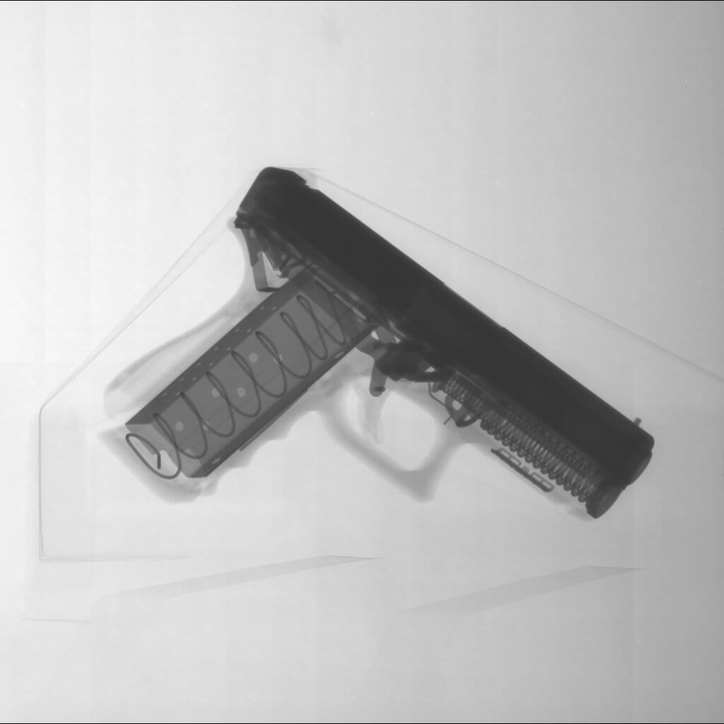 X-ray image of an empty pistol