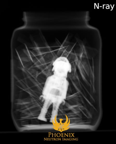 Neutron Image: Jar of Staples with Toy