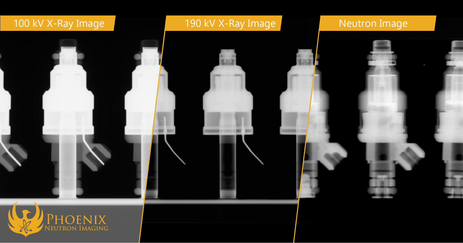 A comparison of a 100kV X-Ray, 190 kV X-ray, and neutron Image of Fuel Injectors.