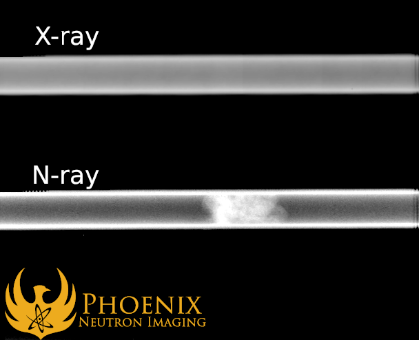 Neutron Image: Comparison of an X-ray (top) and N-ray (bottom) of an aluminum pipe with a cotton ball inside it. The neutron image captures the cotton, but the X-ray is unable to.