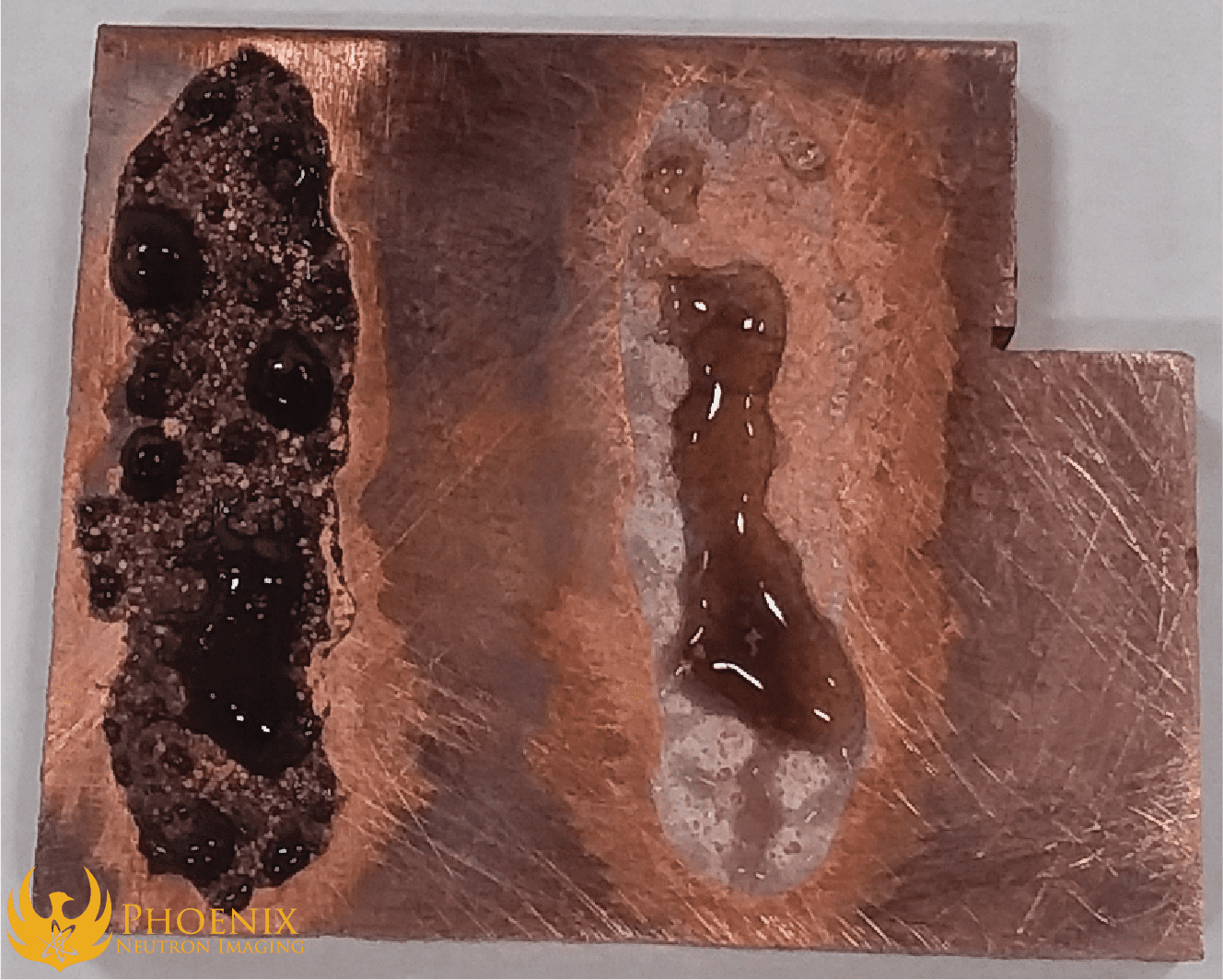 Boron fluxes placed on copper plate